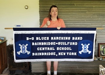 New Marching Band Banner with creator Carole Beach
