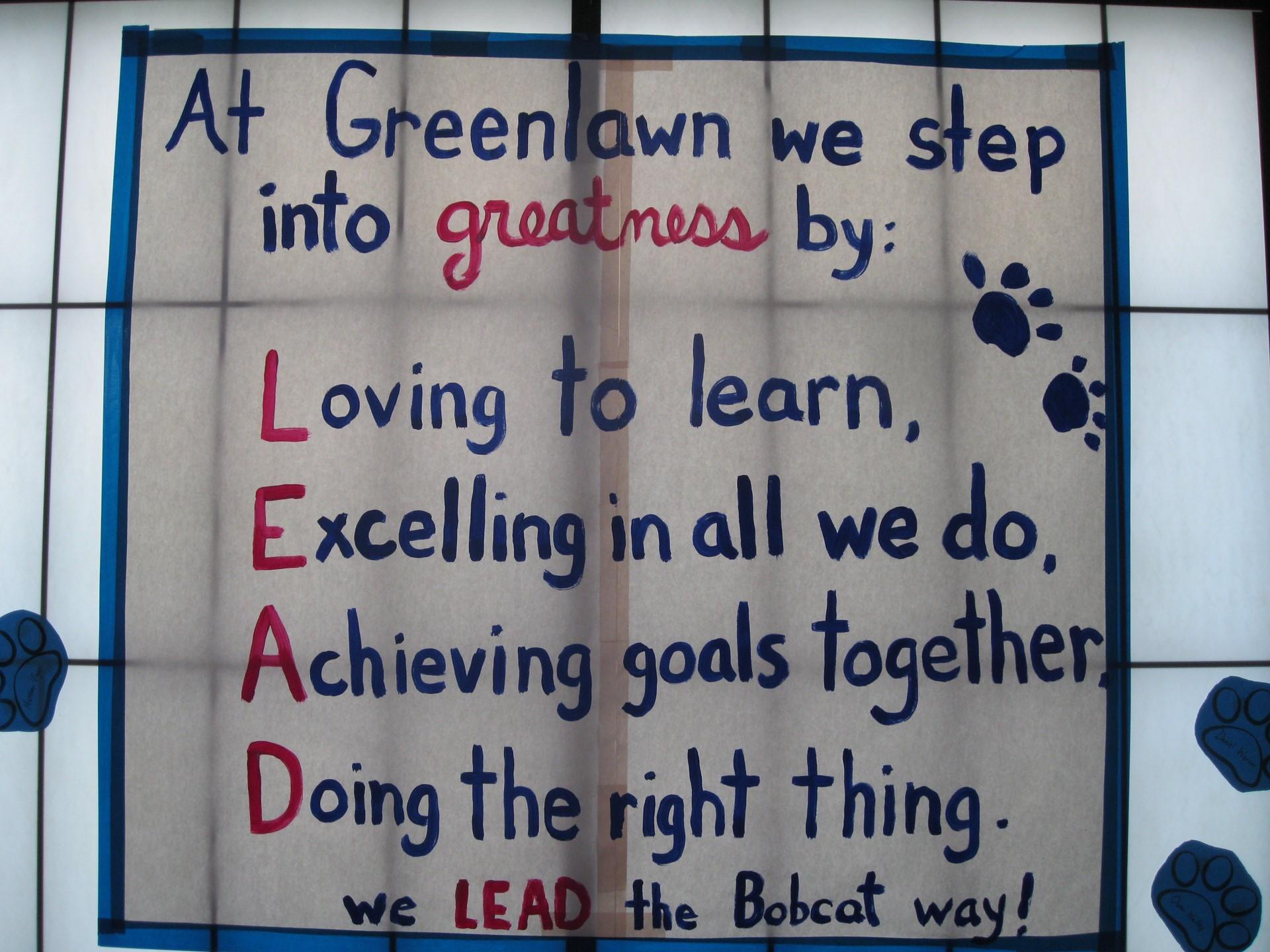 LEAD banner at Greenlawn ELementary School