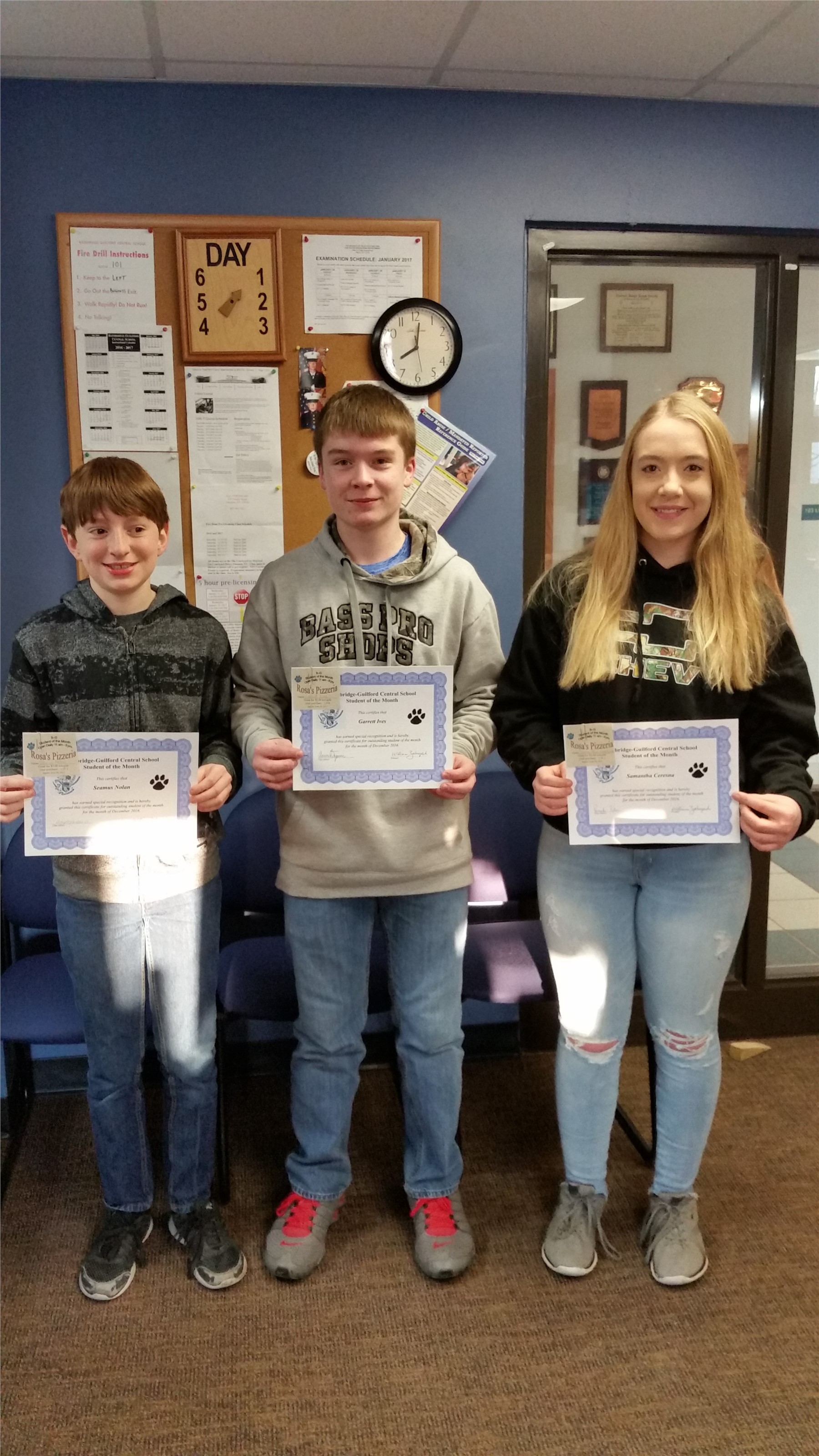 December Jr High Students of the Month
