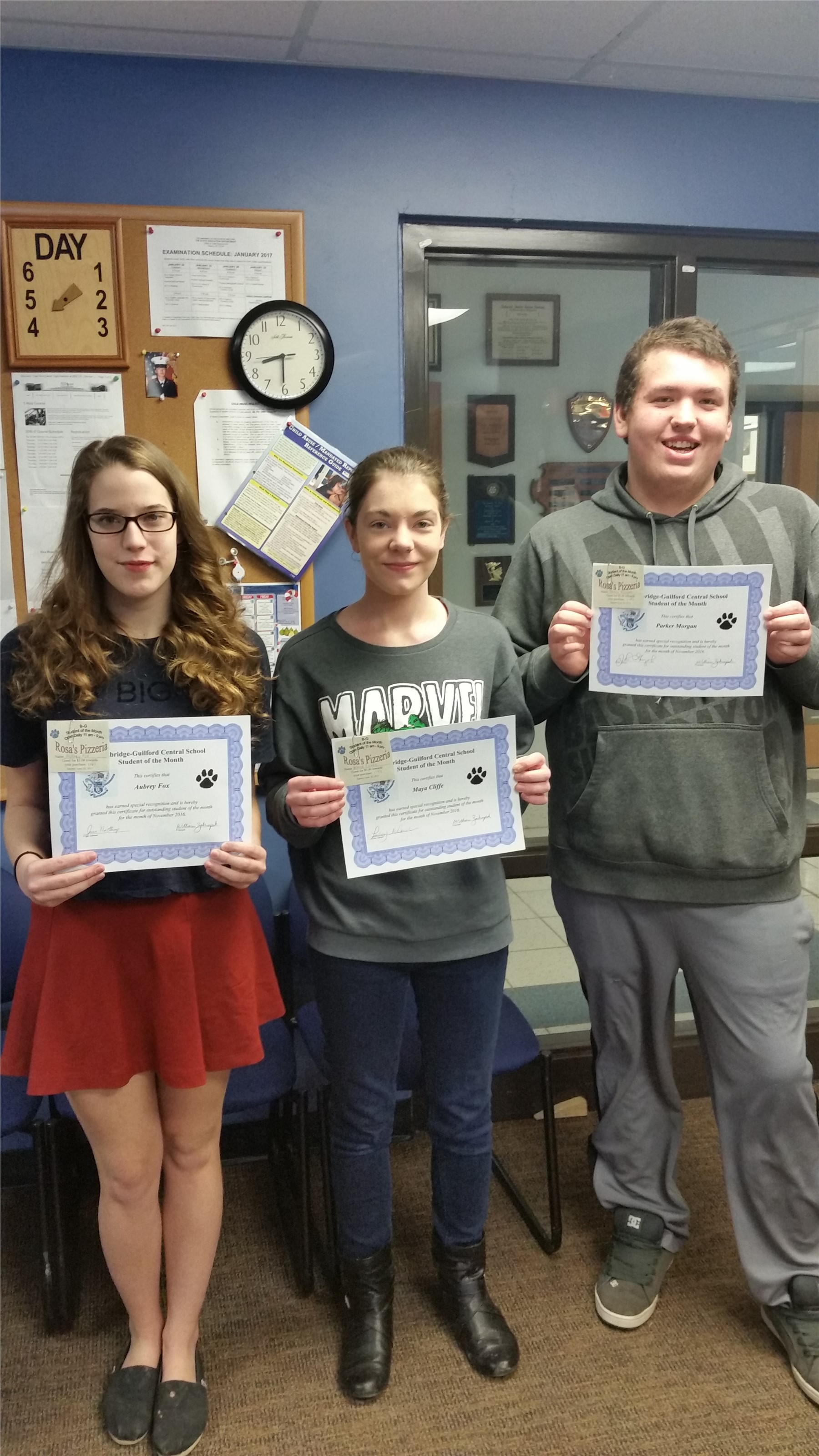 November Sr High Students of the Month