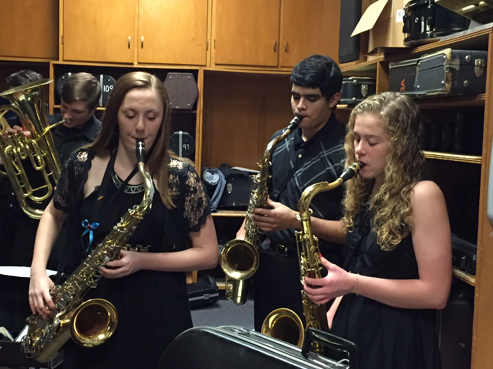 Three Saxophone Students