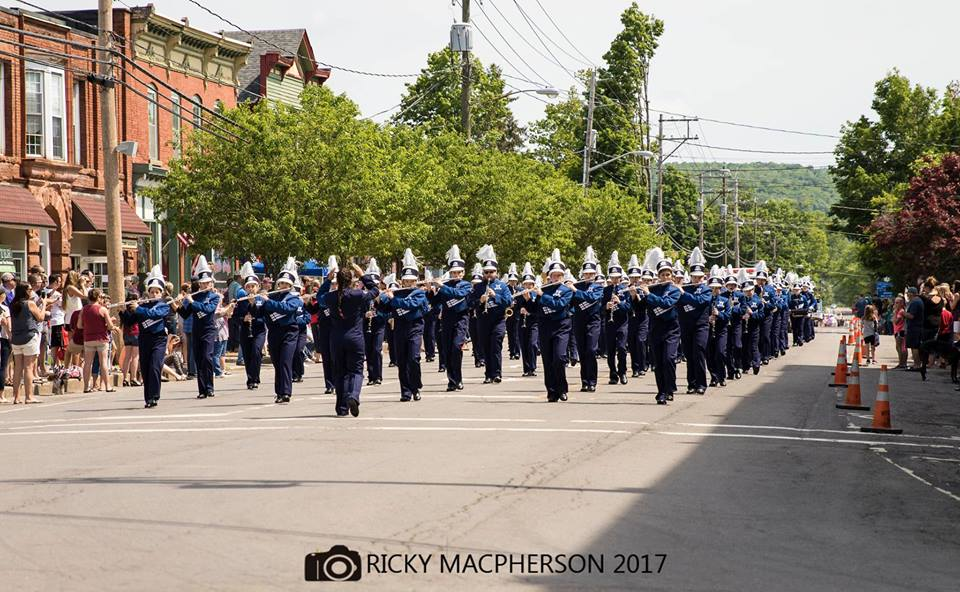 Memorial Day Parade Band 2017 on Main Street Bainbridge, New York.