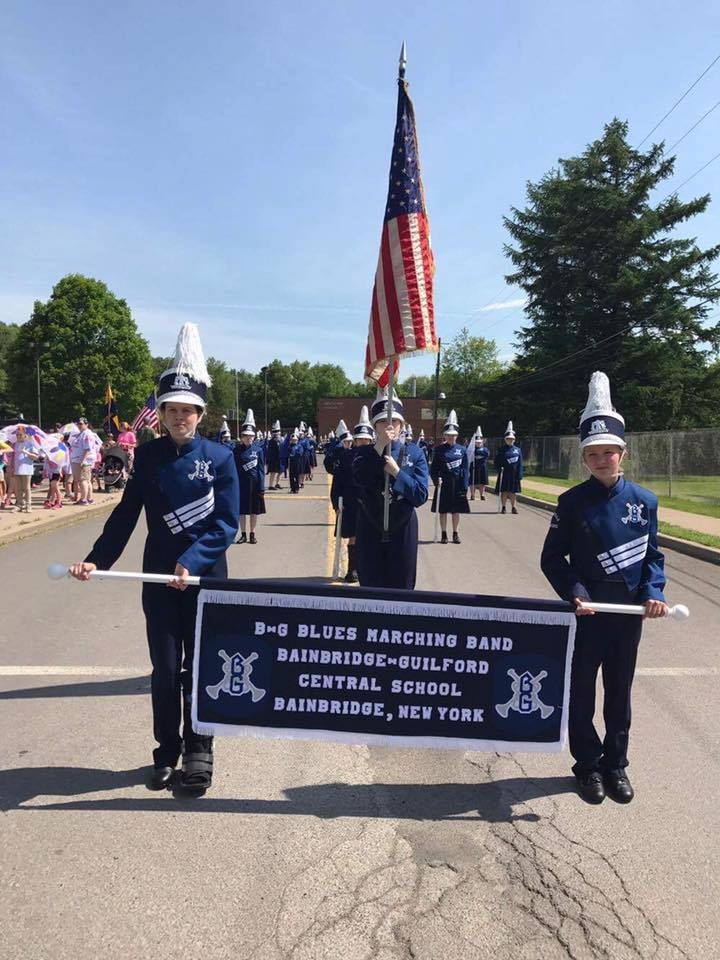 Memorial Day Parade Color Guard 2017 on Main Street Bainbridge, New York.