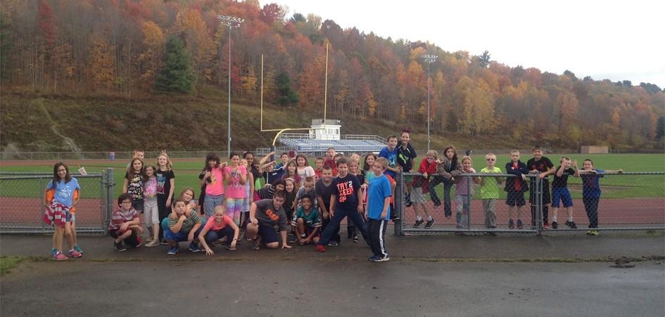 kids on athletics field