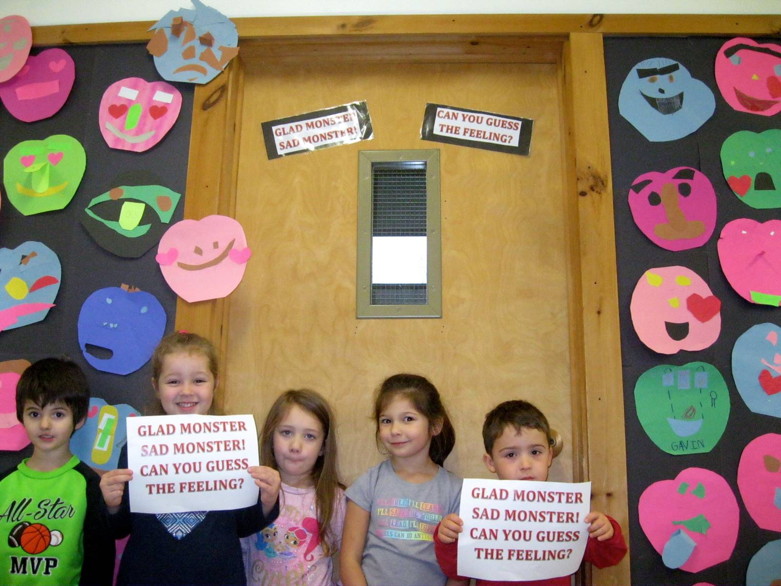 5 Kindergartners show off their Monster emotions.