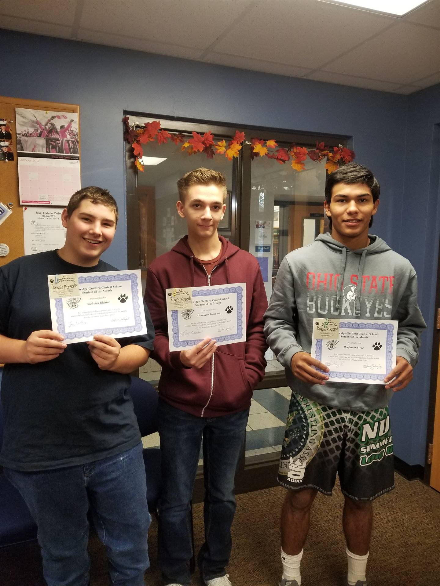 Students of the Month for September Grades 10,11 and 12