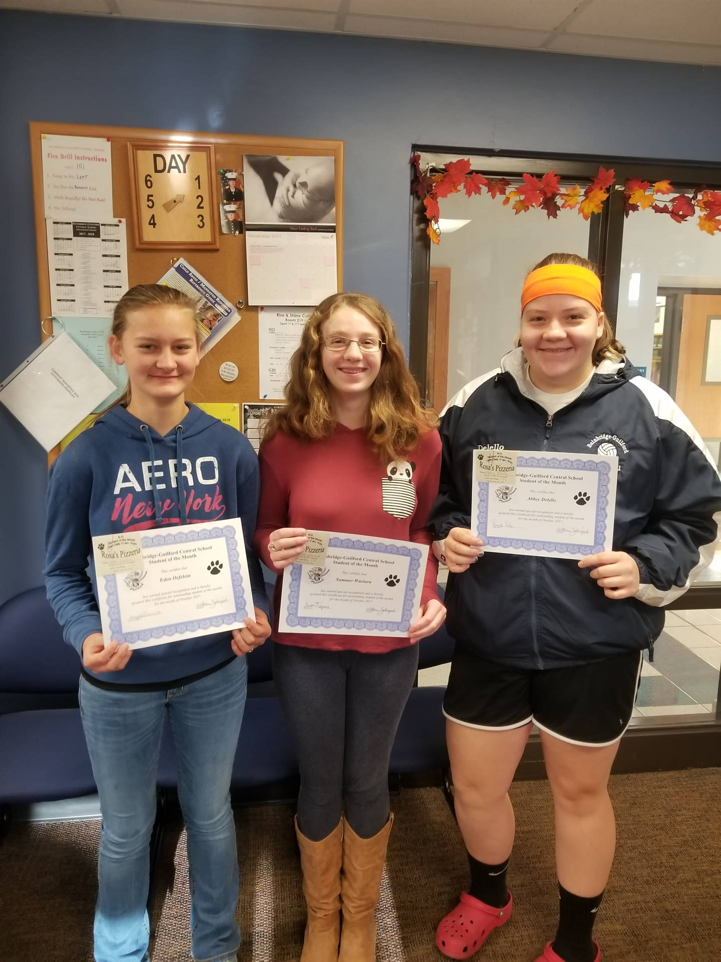 Students of the Month for October Grades 7, 8 and 9