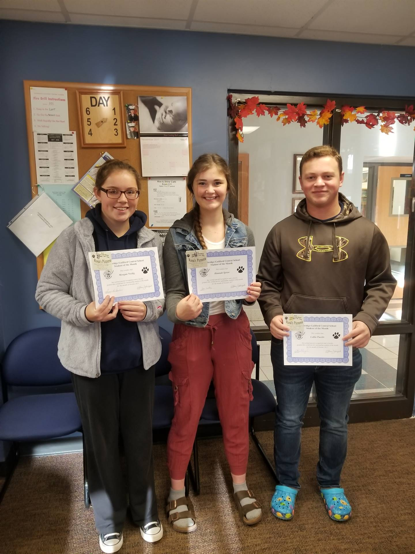 Students of the Month for October Grades 11, 10, and 12