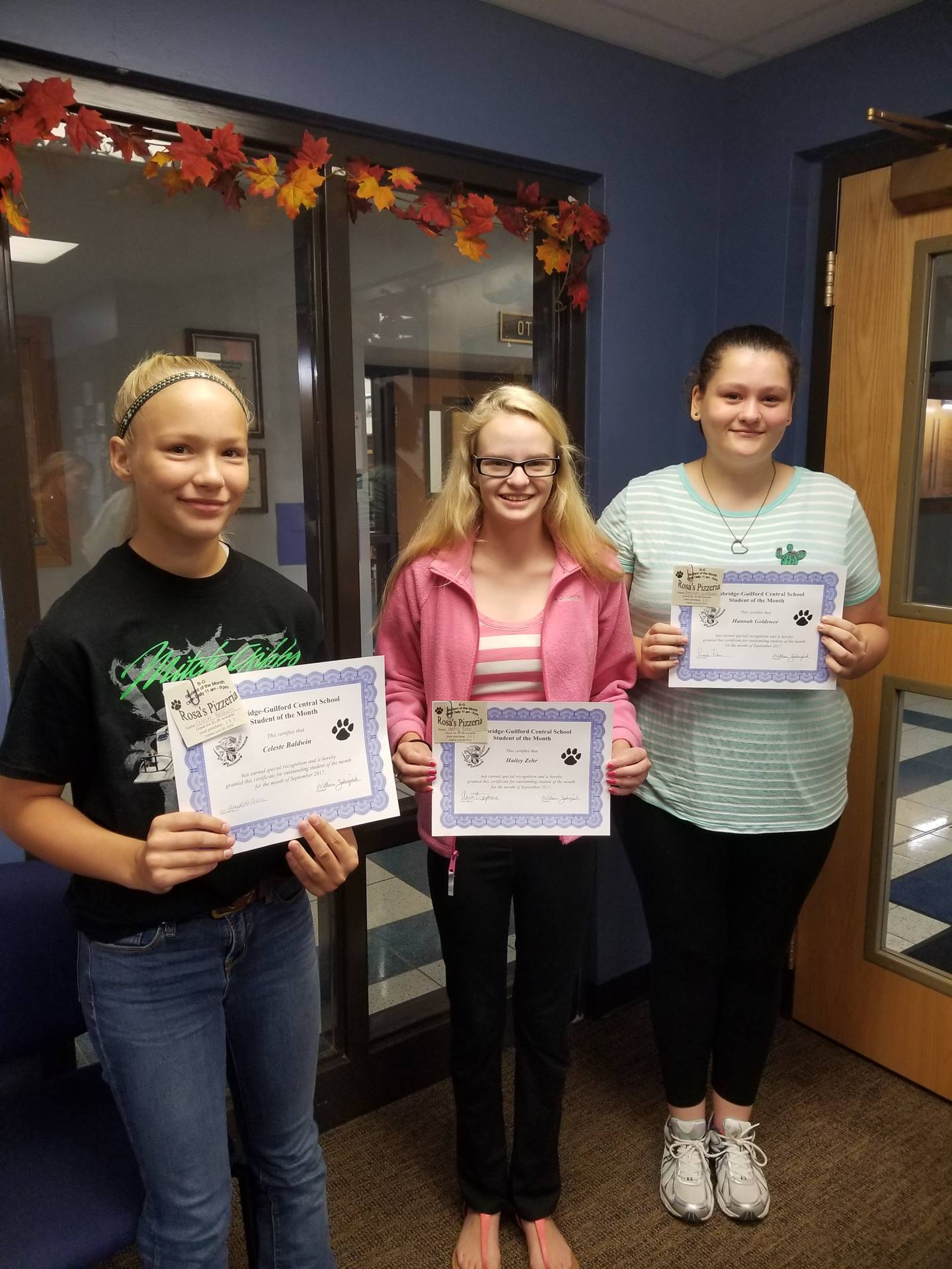 Students of the Month for September Grades 7, 8 and 9