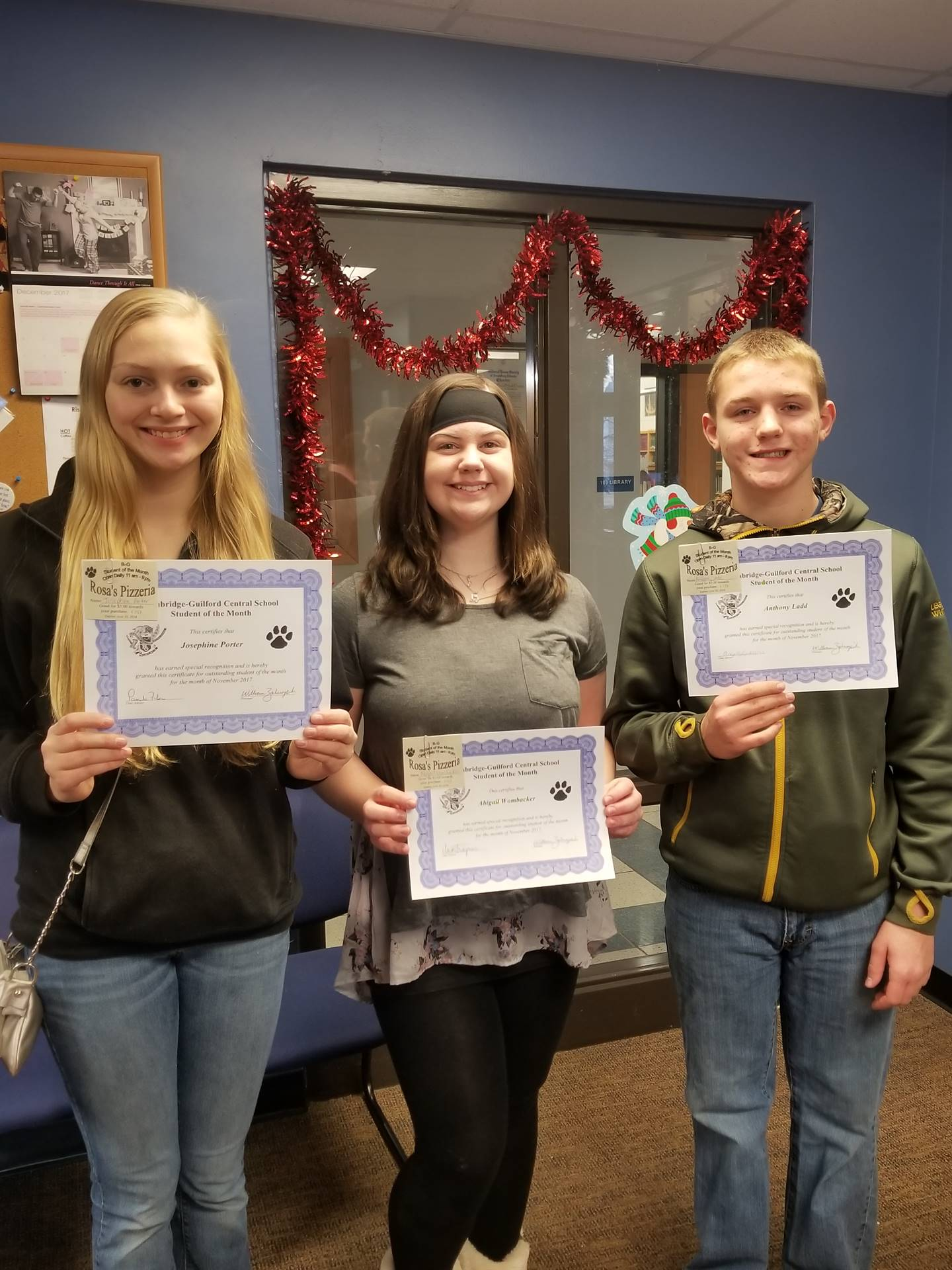 Students of the Month for November Grades 9, 8 and 7
