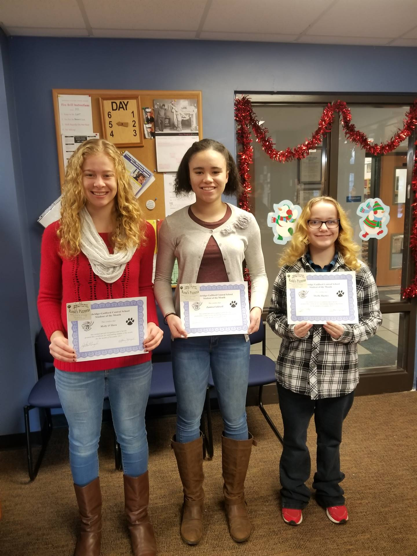 Students of the Month for November Grades 12,11, and 10