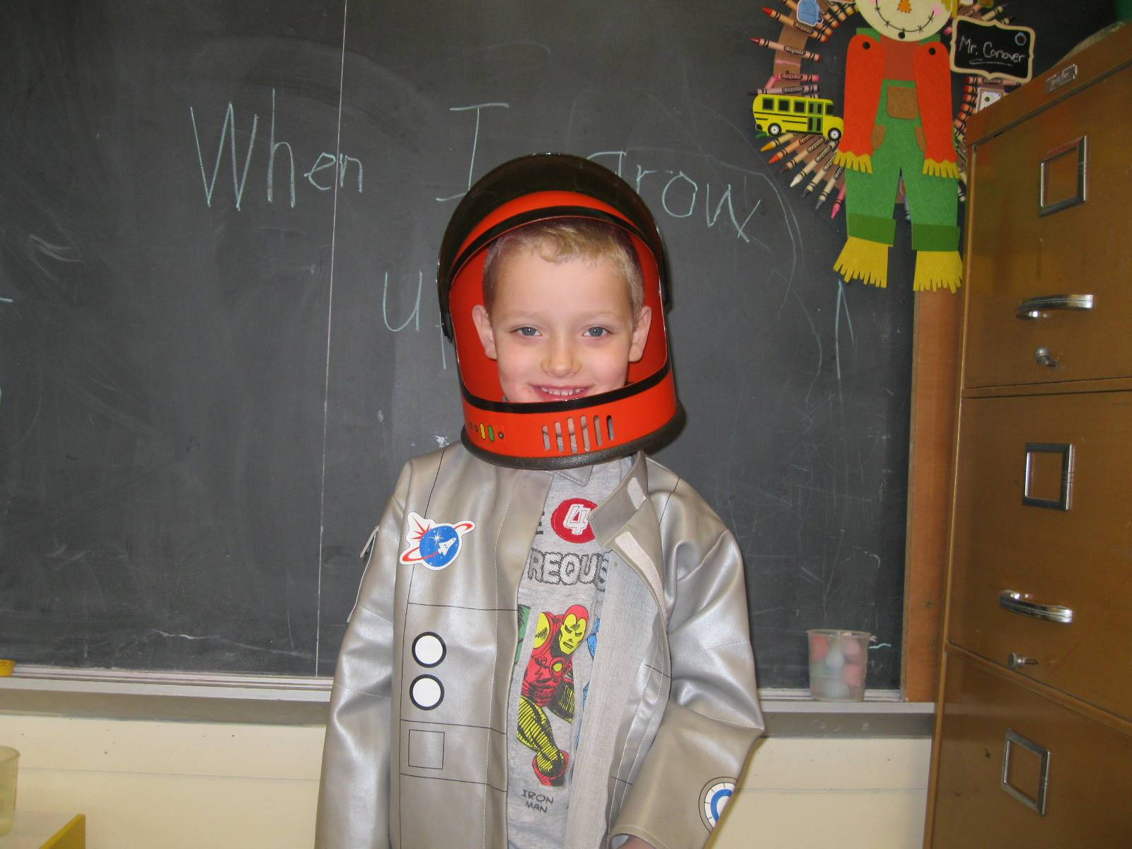 student dressed up as an astronaut.