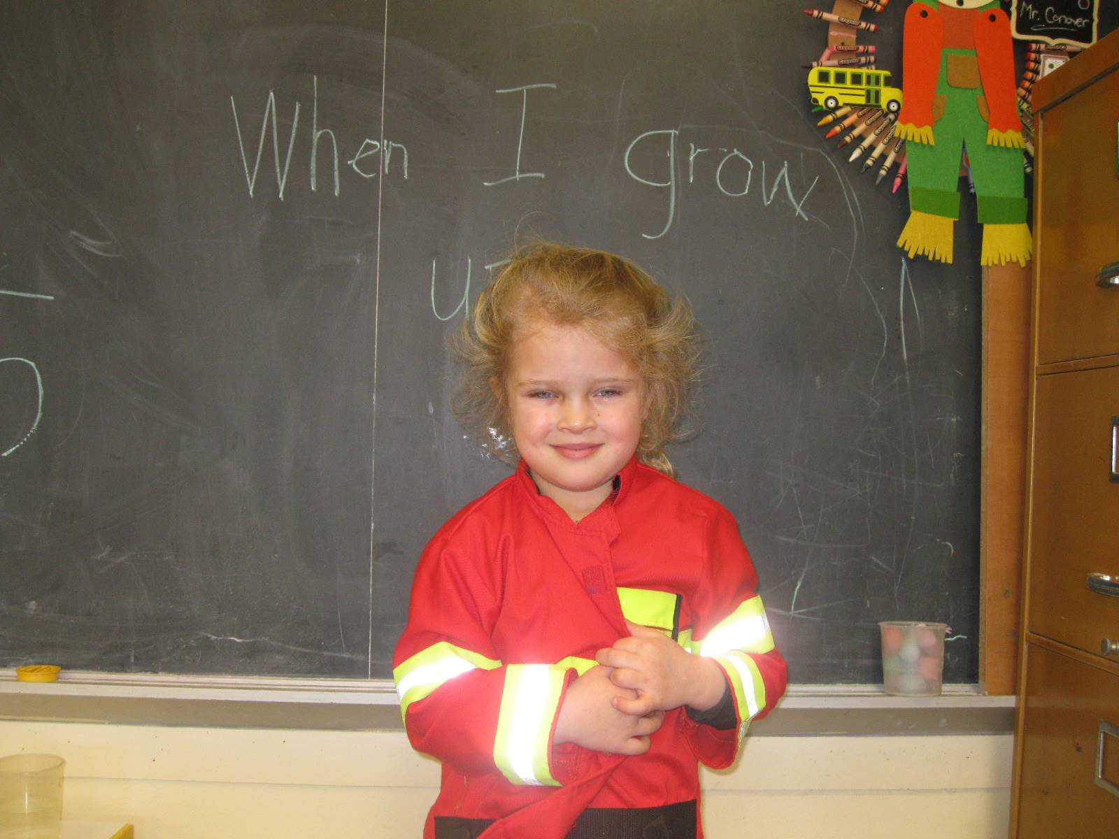 student dressed up as a fire fighter.