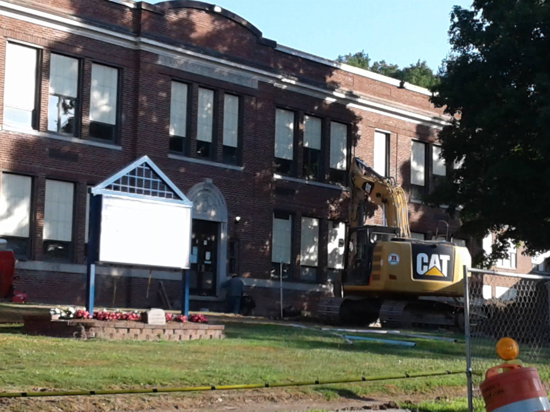 Getting ready for new stairs and sidewalks in front of the High School!