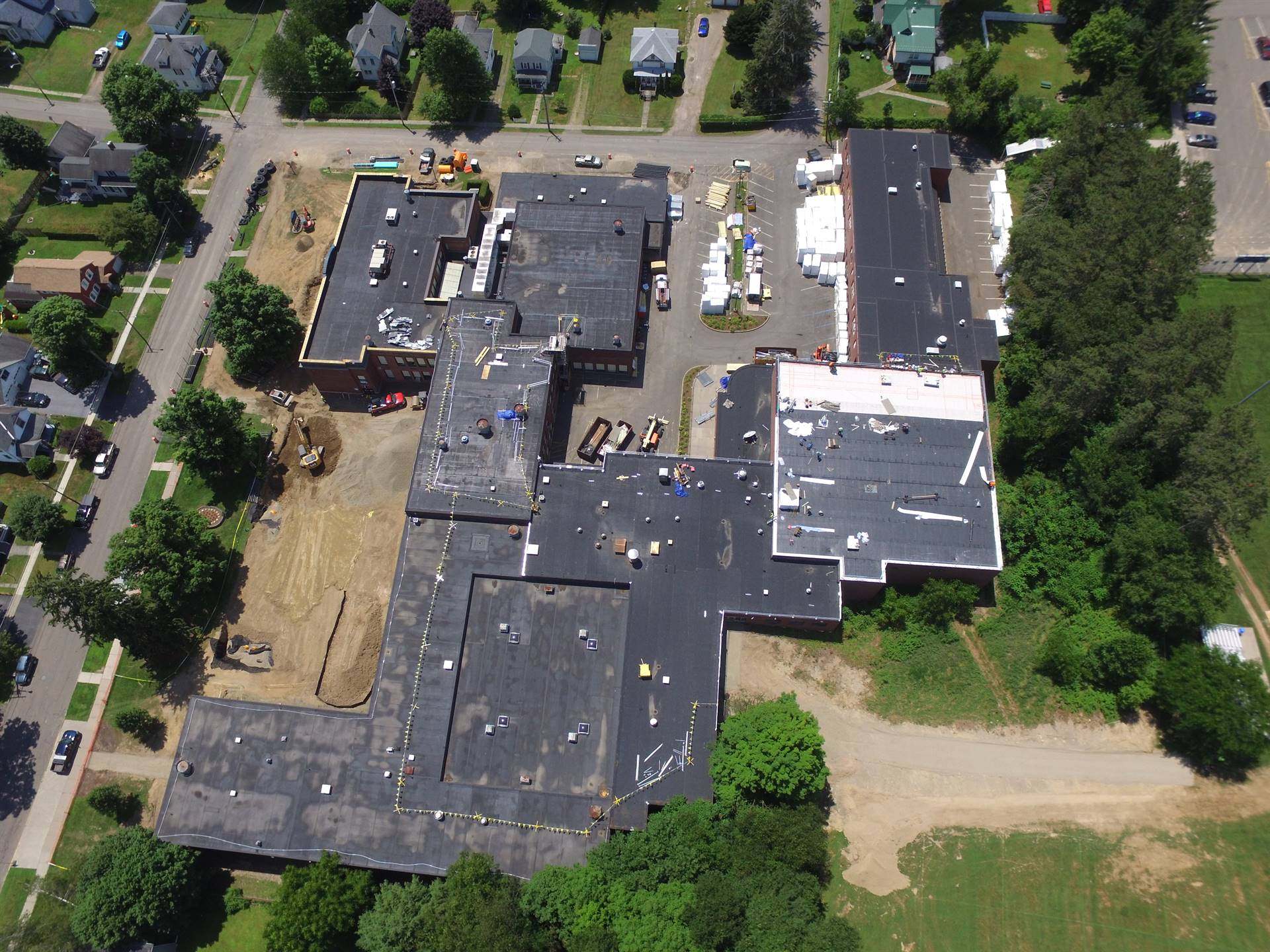 Aerial view High School - from the Soccer field