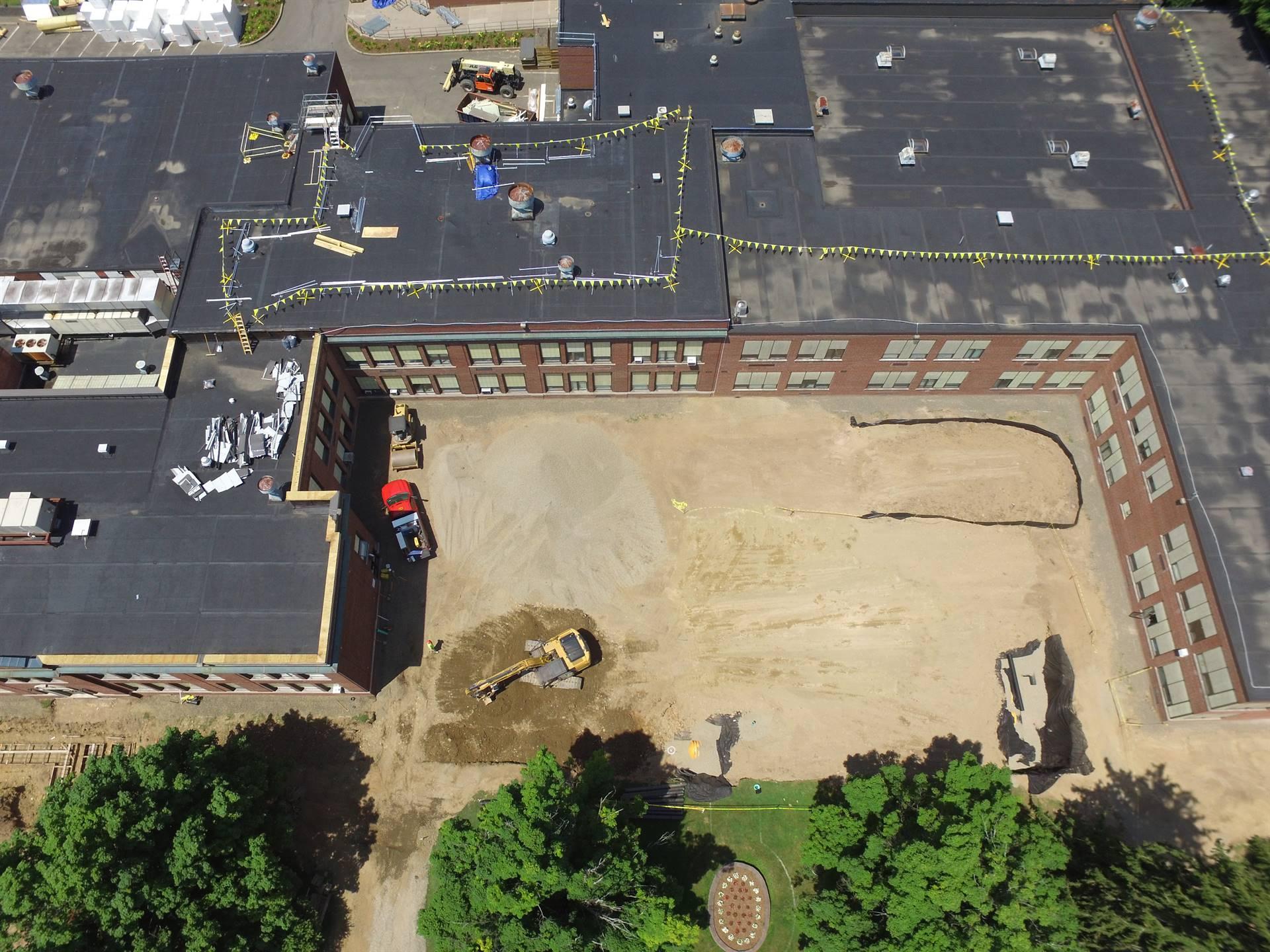 Aerial view High School -  above Juliand Street