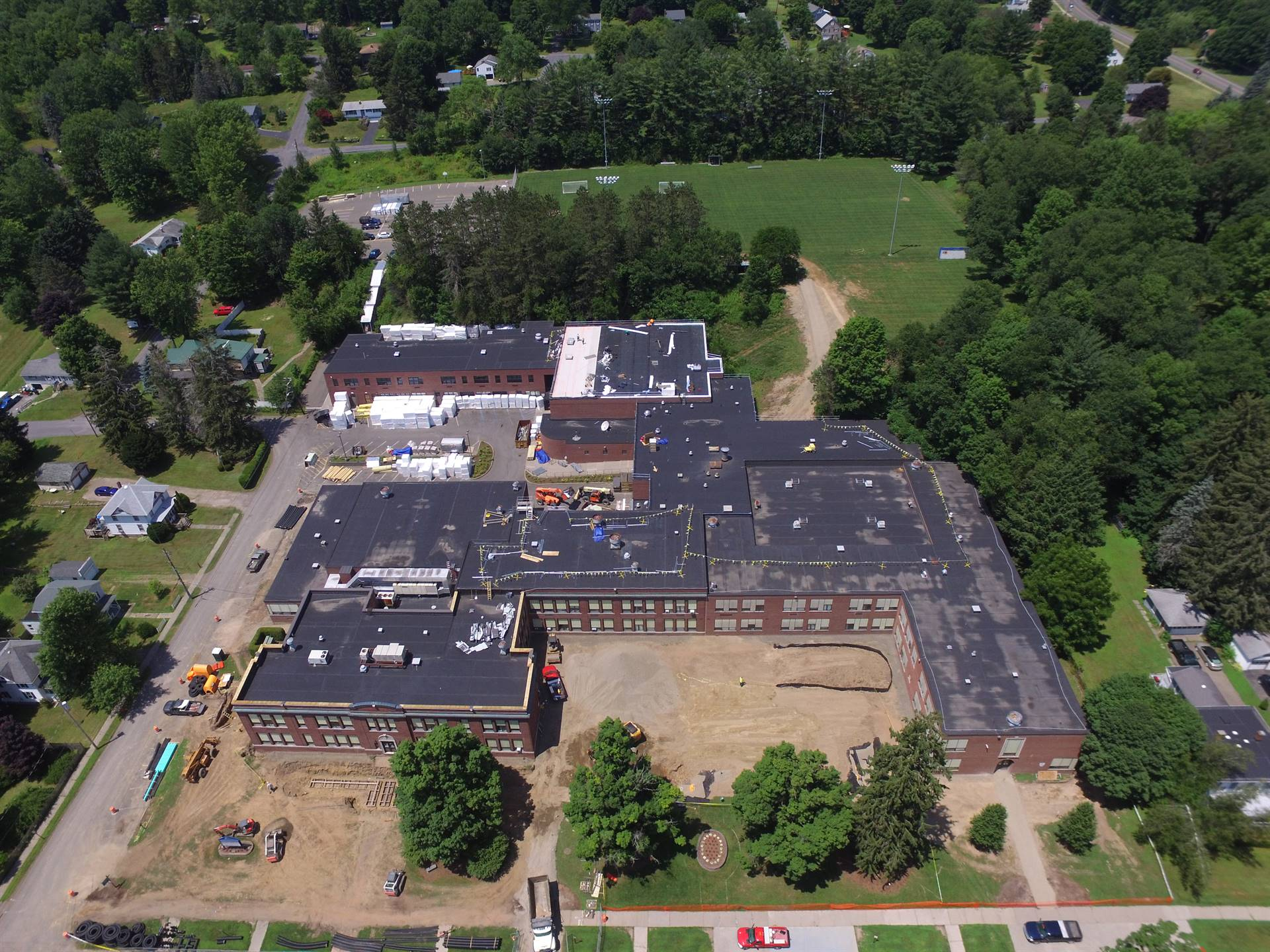 Aerial view High School -  above Juliand Street and Walnut Street
