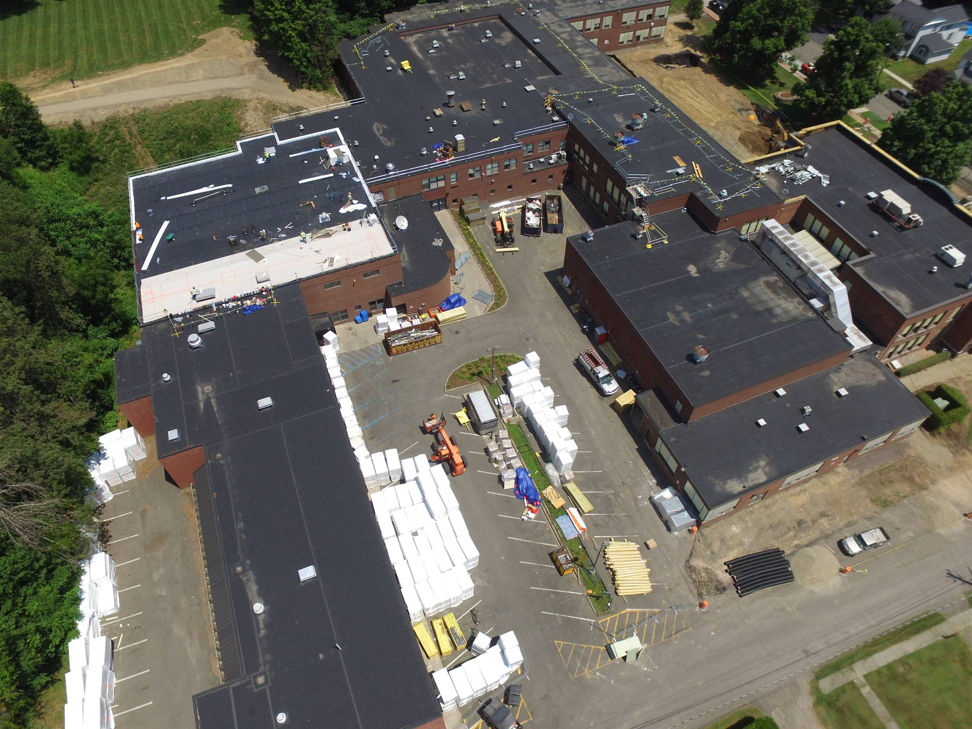 Aerial view High School -  above Walnut Street