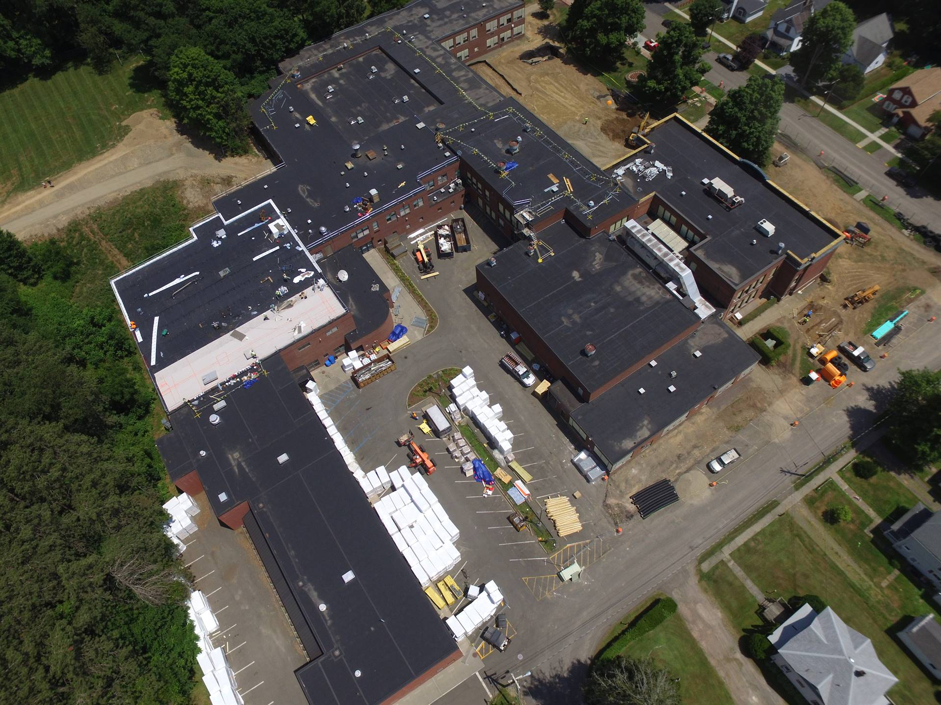 Aerial view High School -  above Walnut Street - Parking lot by MPR