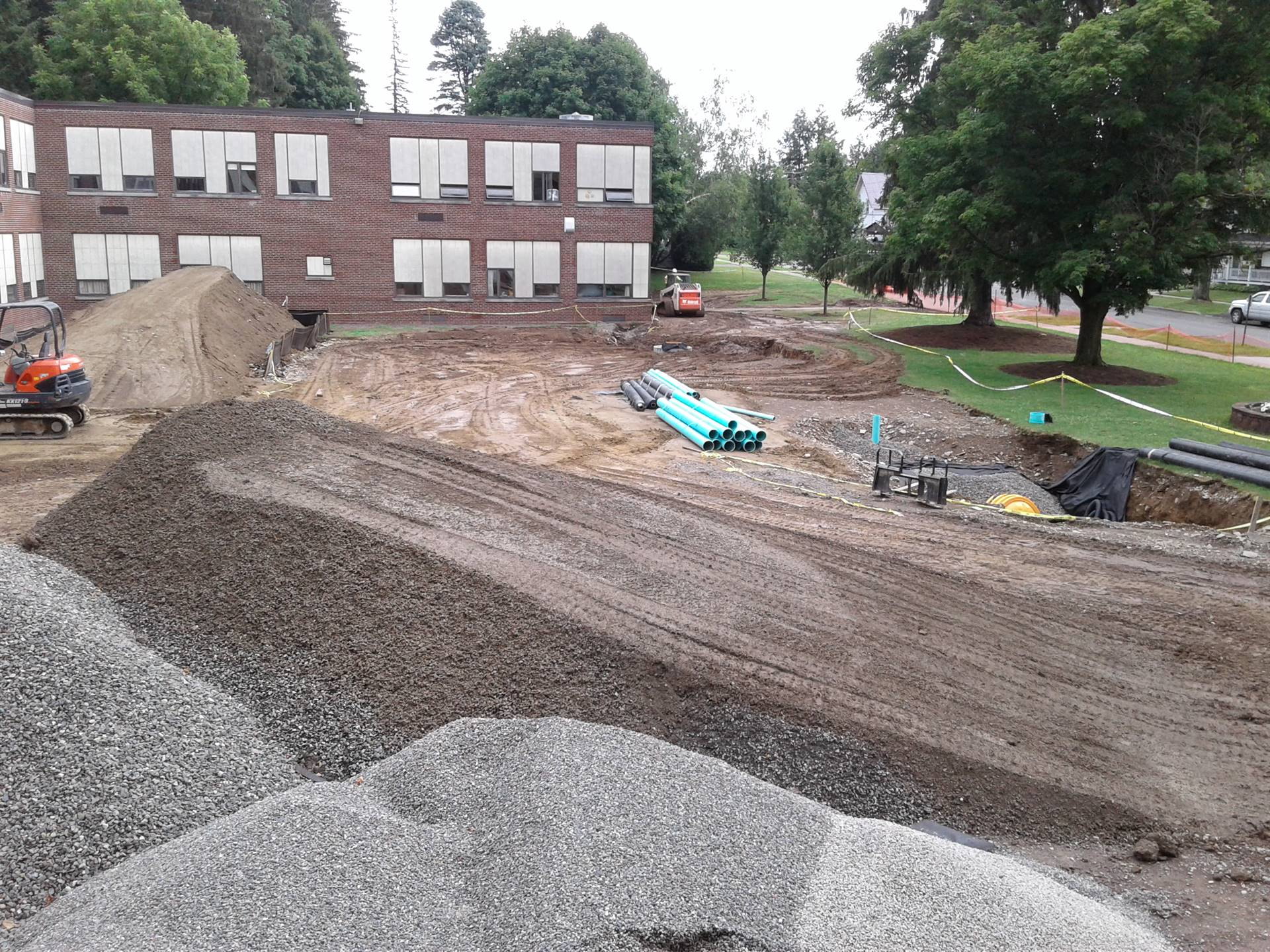 Drainage work on the front lawn.