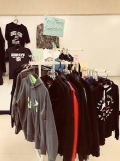 Bobcat Boutique - racks of hoodies