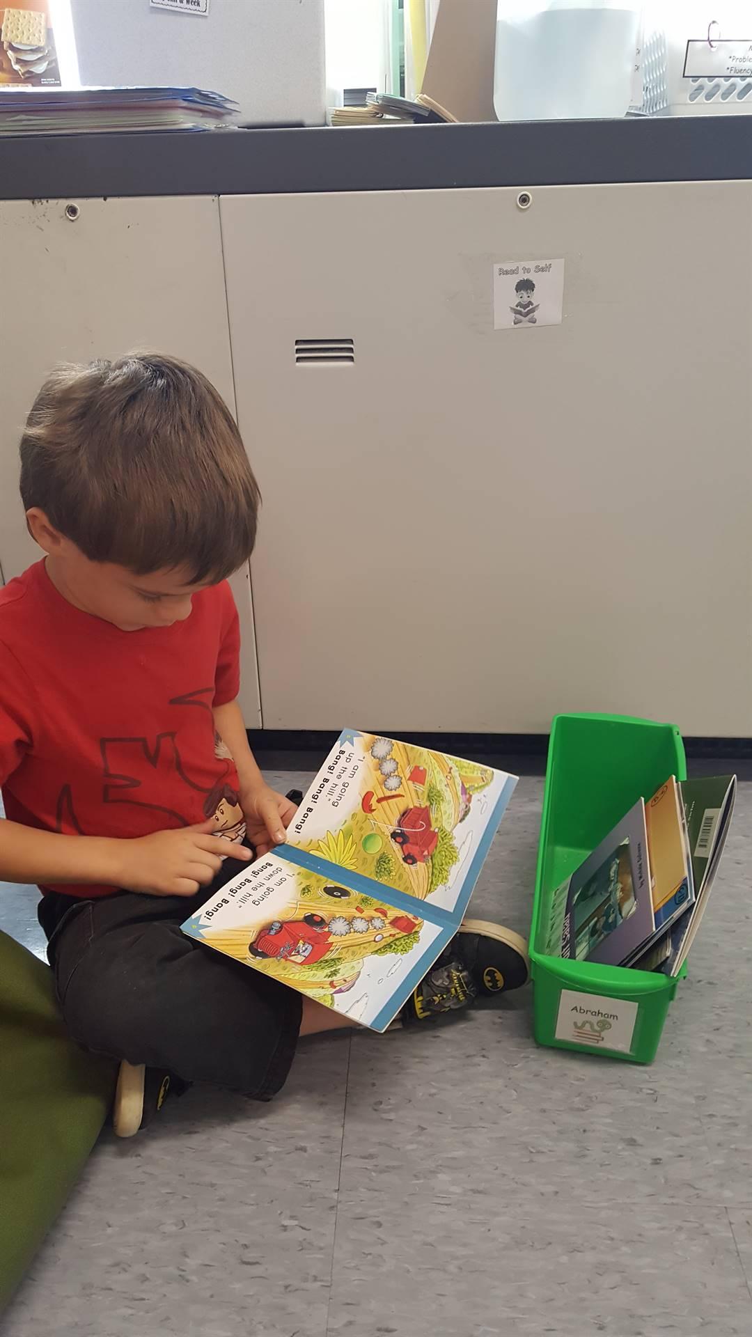 A first grader reading!