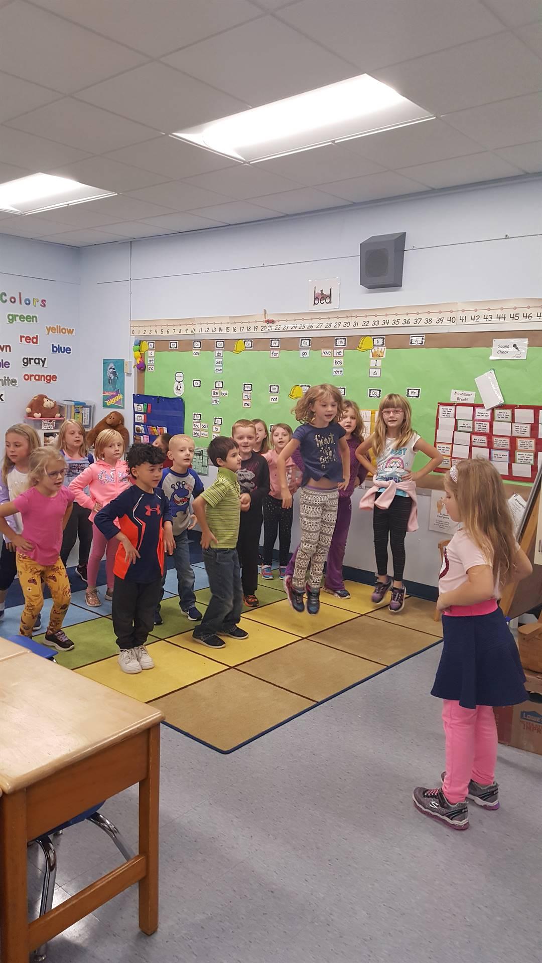 First grade class jumps for joy!