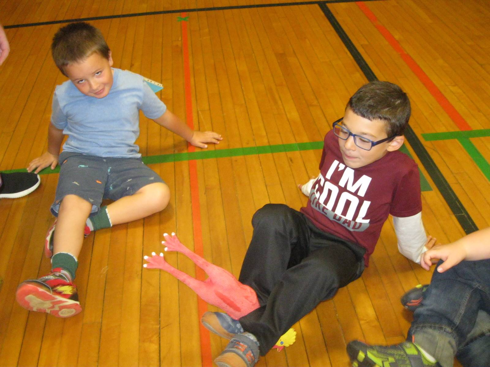 2 students use team work with their feet!