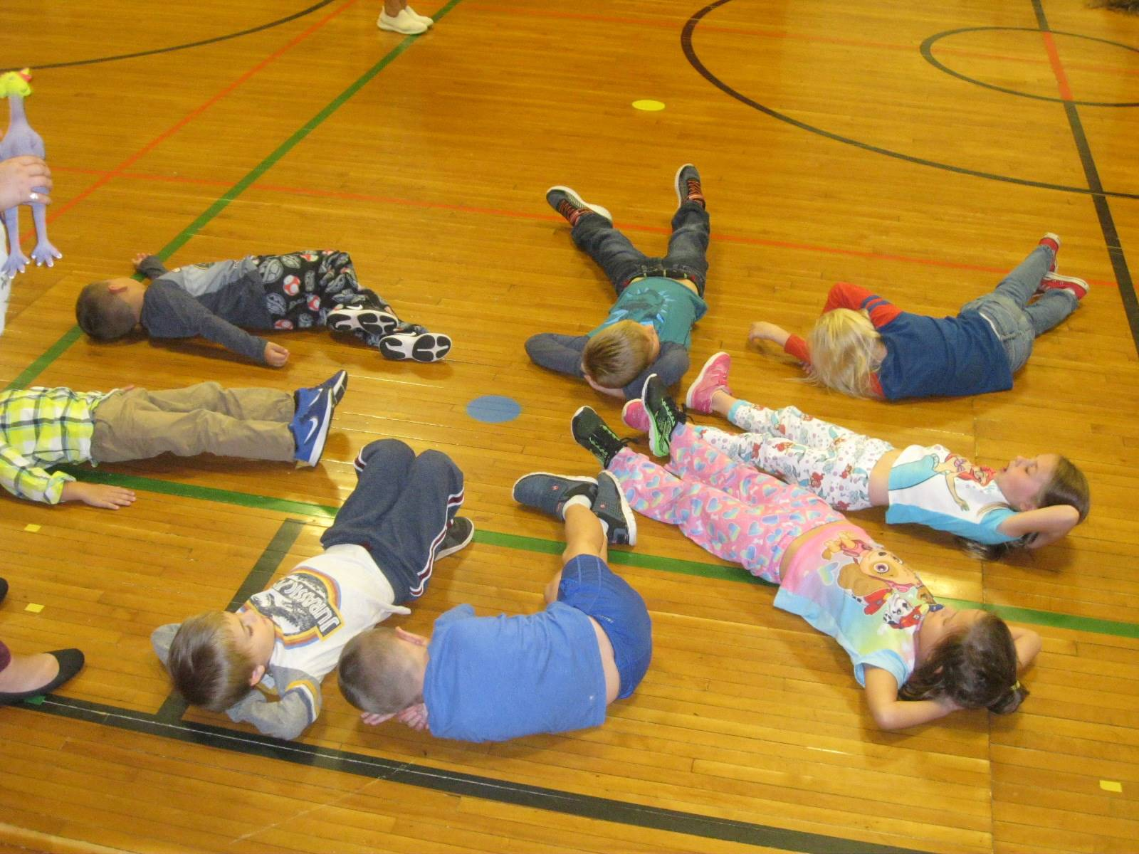 Several students relax and get ready to go.