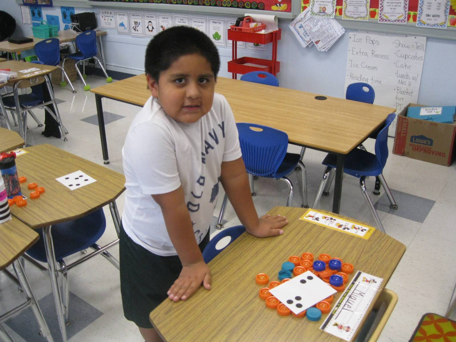 A student demonstrates a math problem.