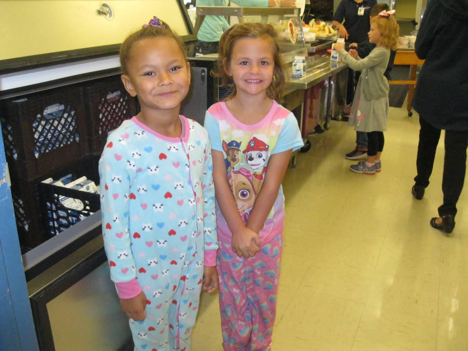 2 students in Pjs.