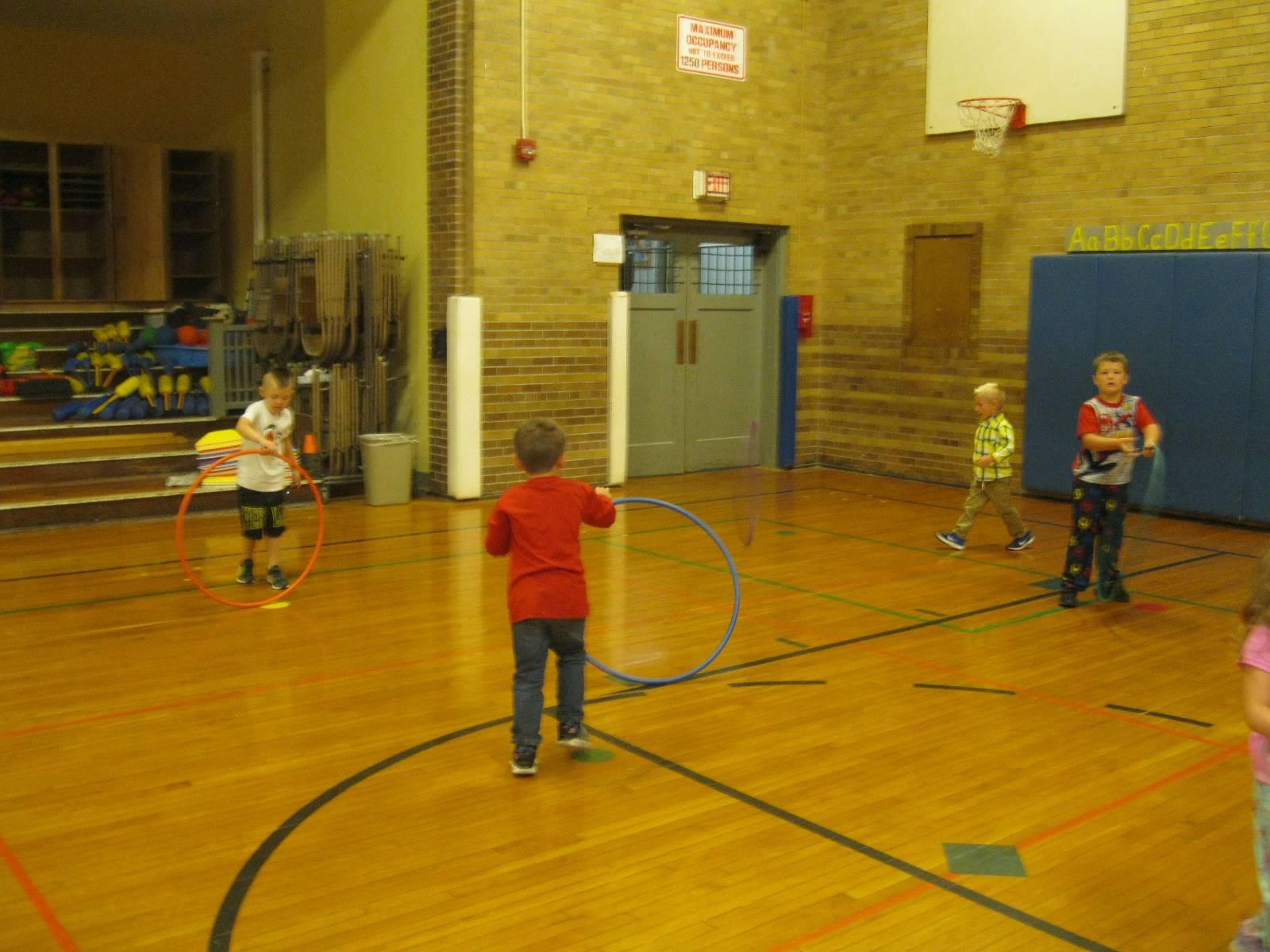 PE is hula hoop time.