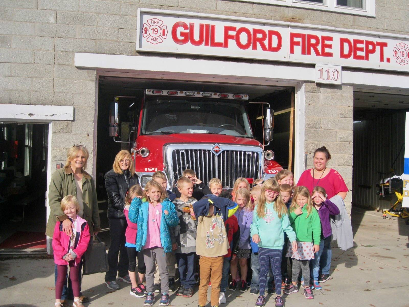 A class visits the fire department