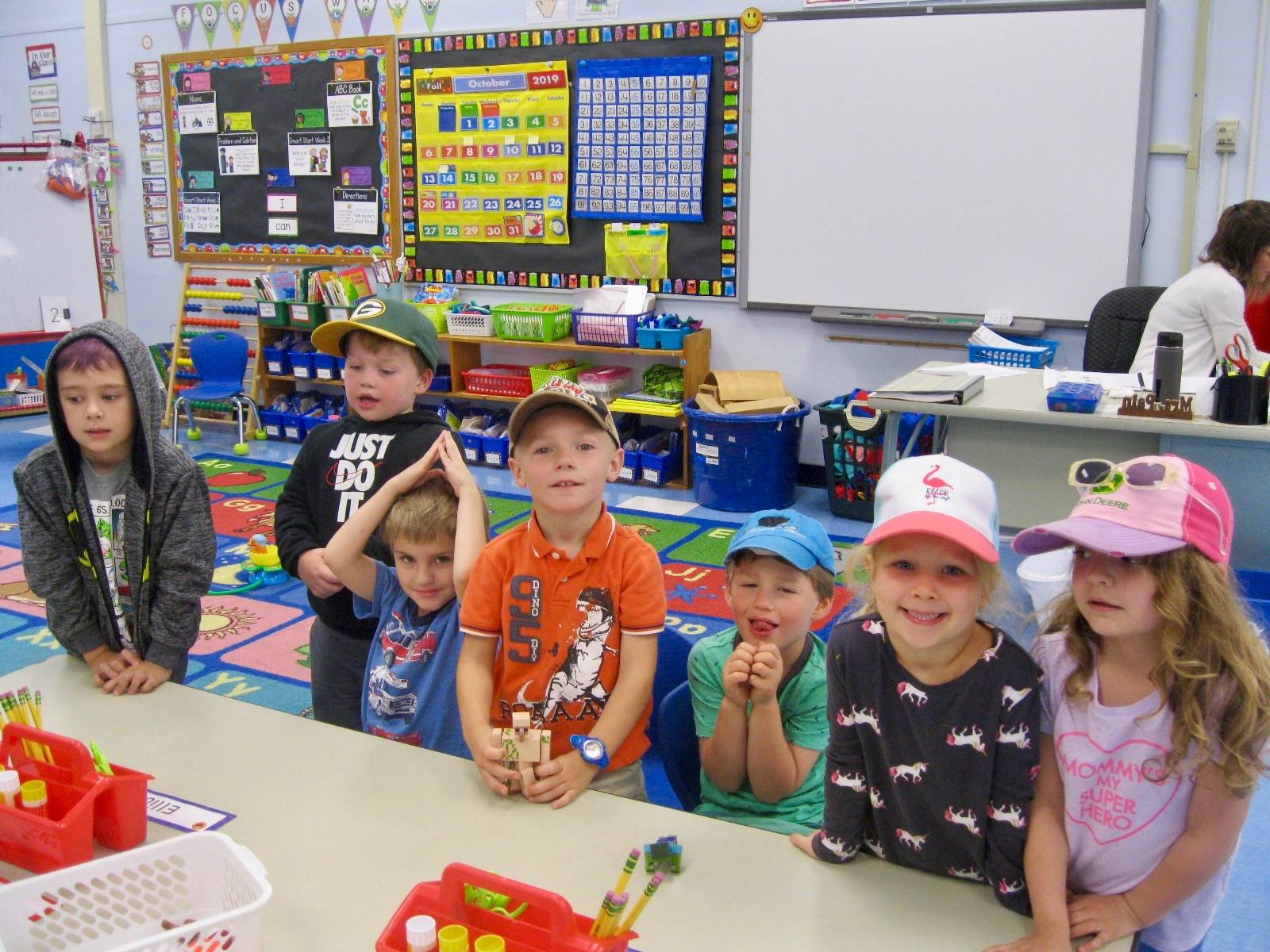 Several students with hats