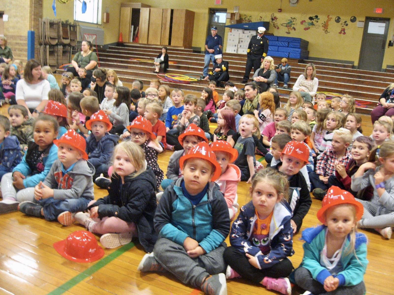 Students at Fire Safety Assembly.
