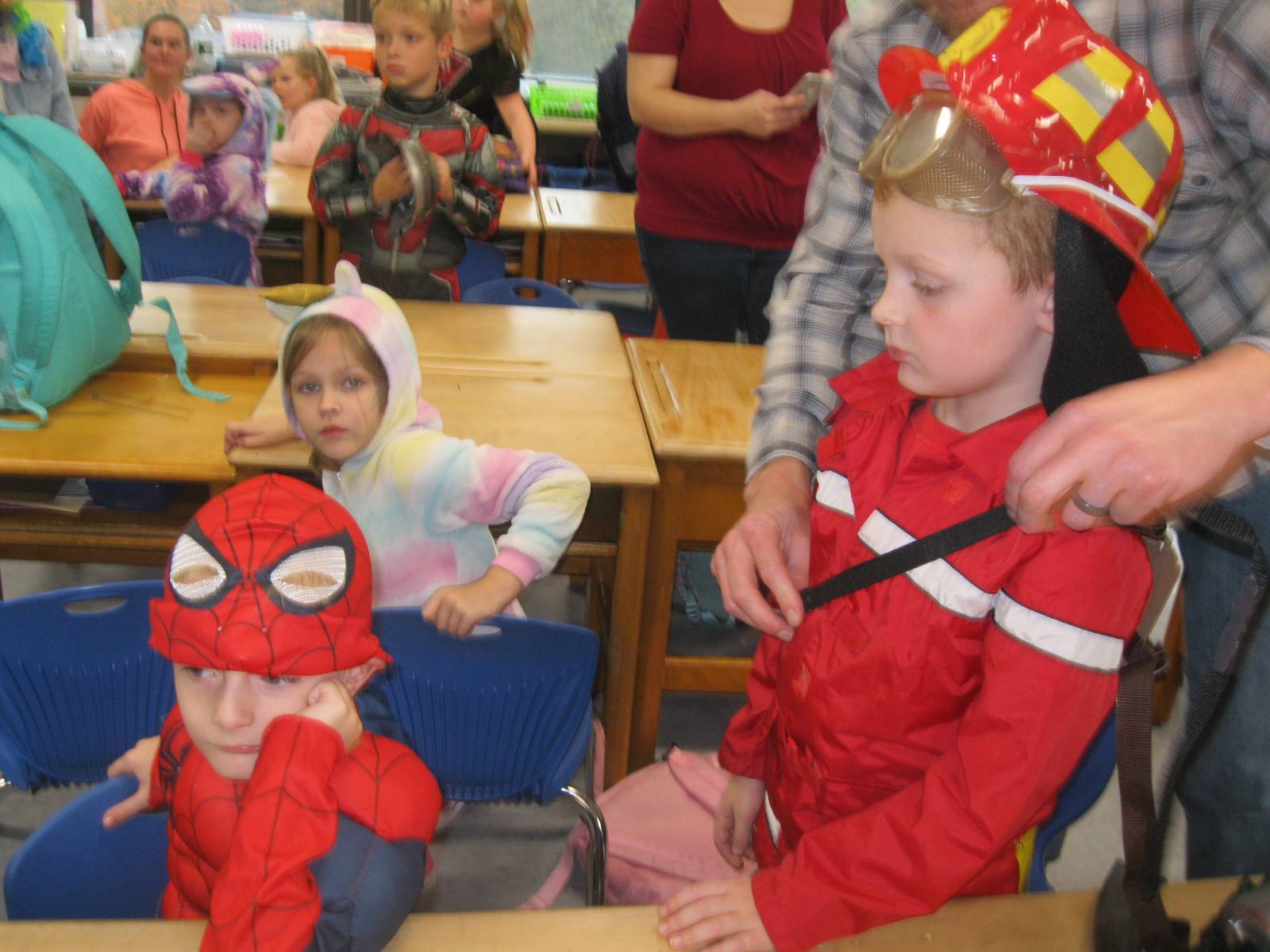 a firefighter and spiderman