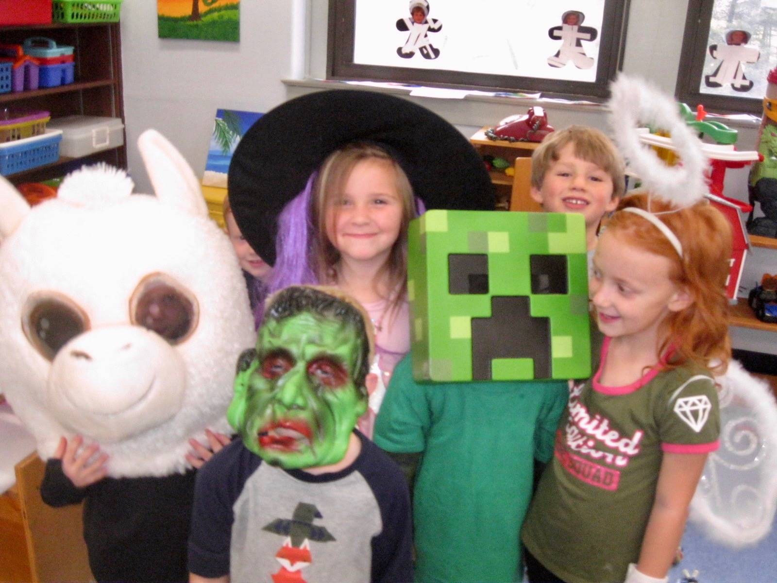 A group of 5 students dressed up.