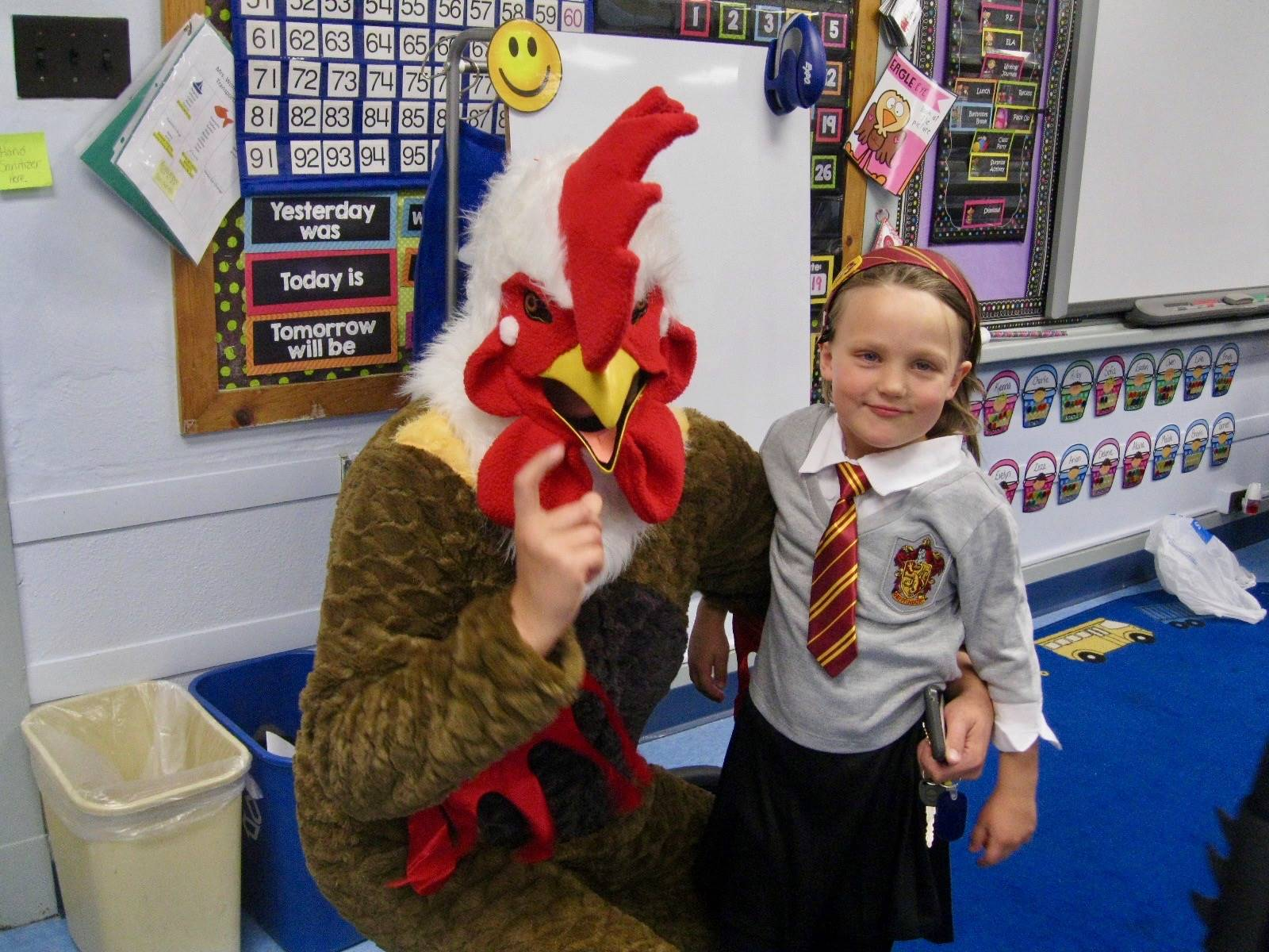 A chicken with a student.