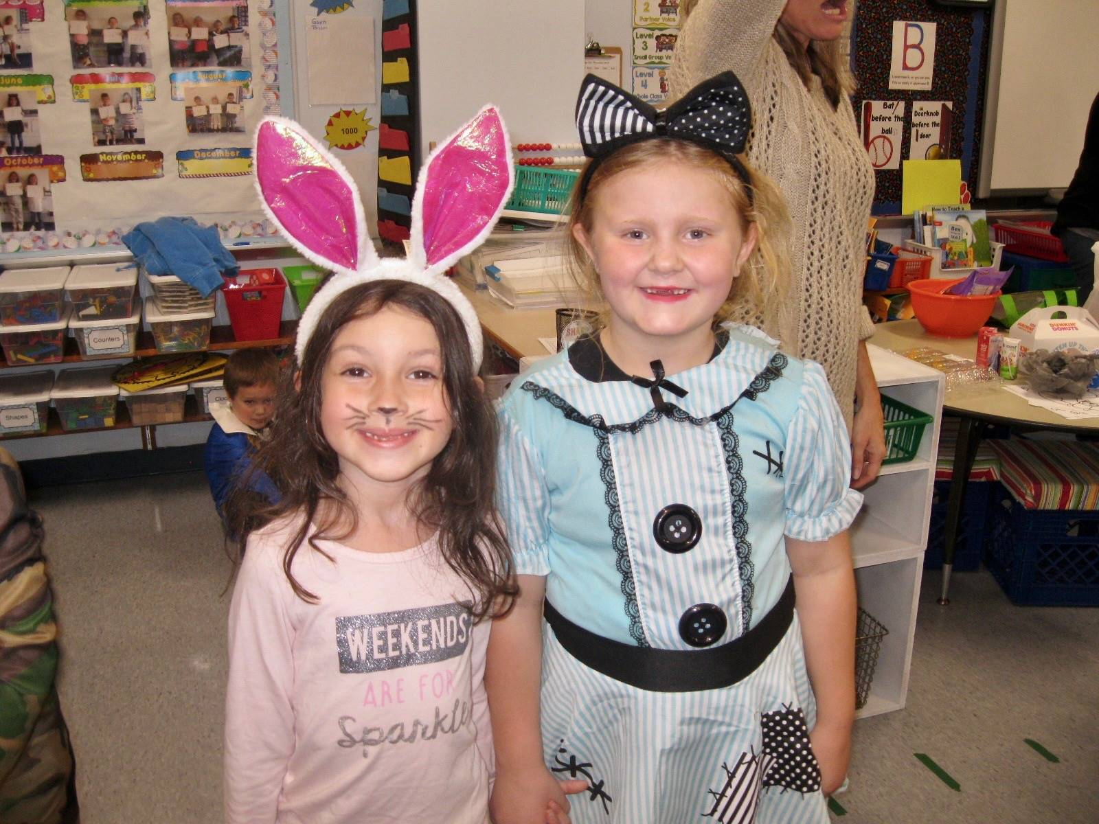 2 students dressed up.
