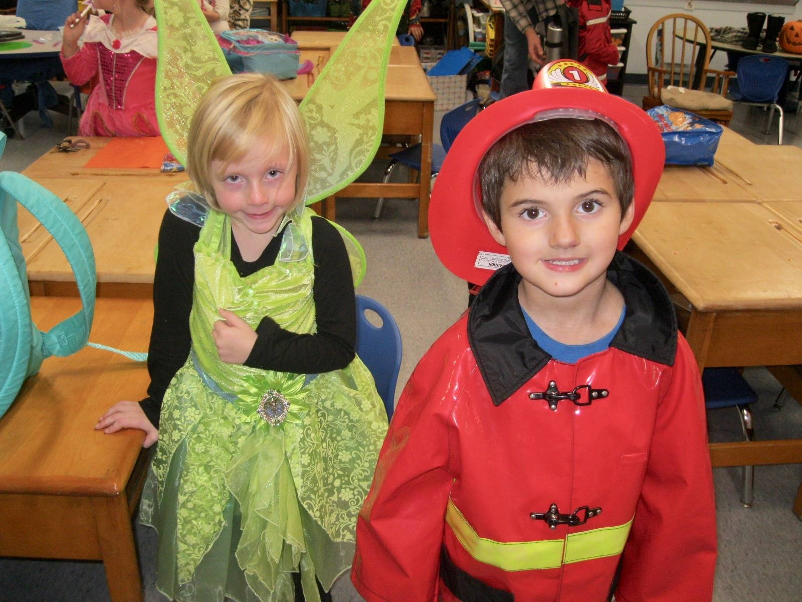Tinker bell and a firefighter.