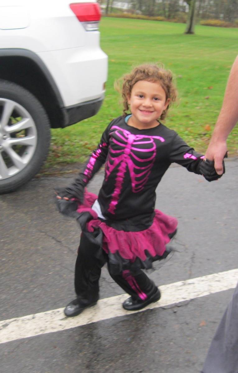 a student in halloween parade.