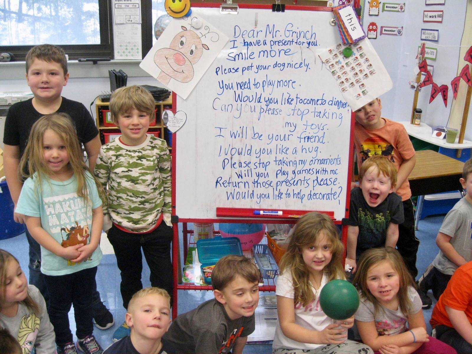 A class responded to Mr. Grinch.