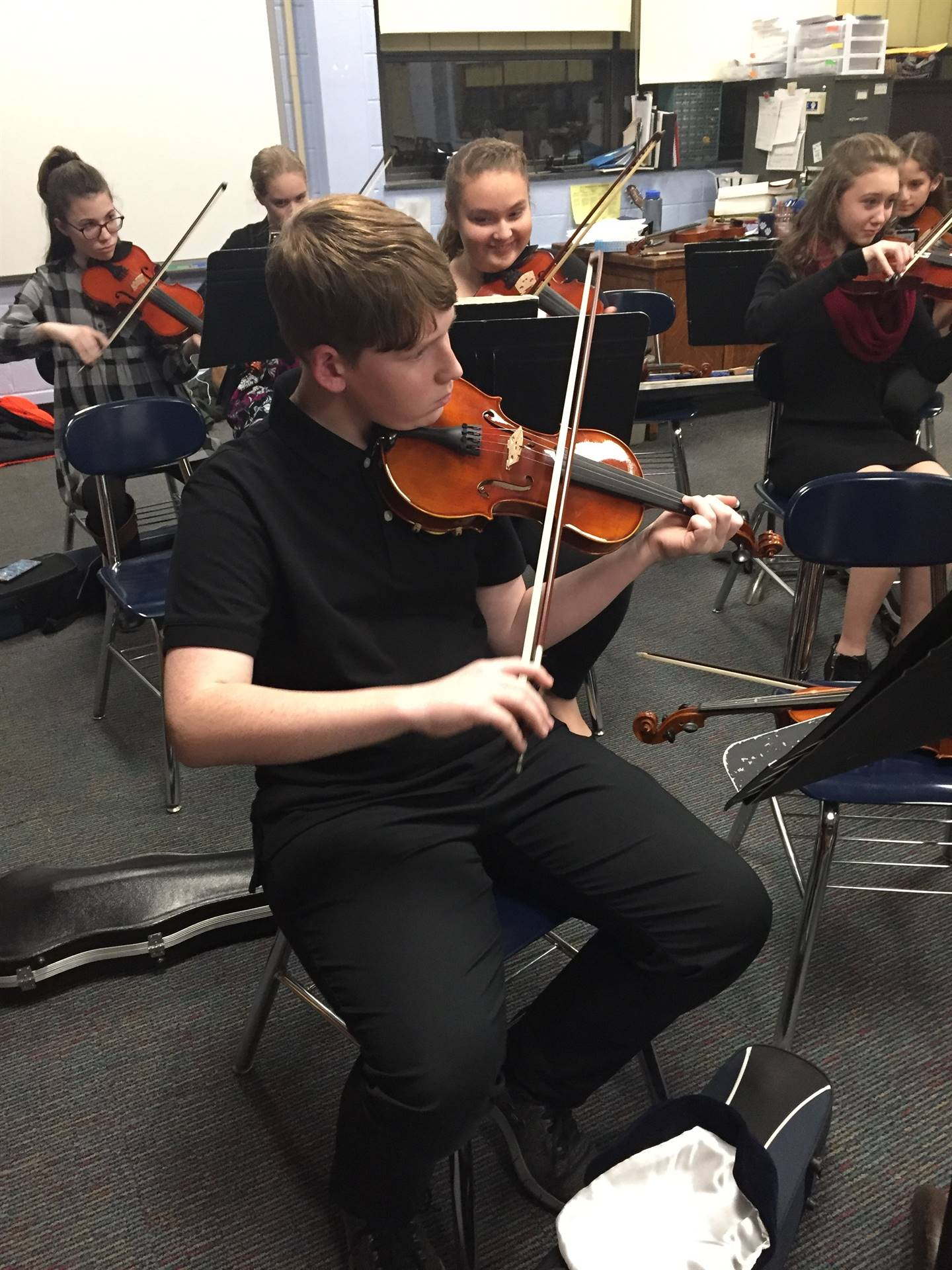 Jr High Orchestra violin player