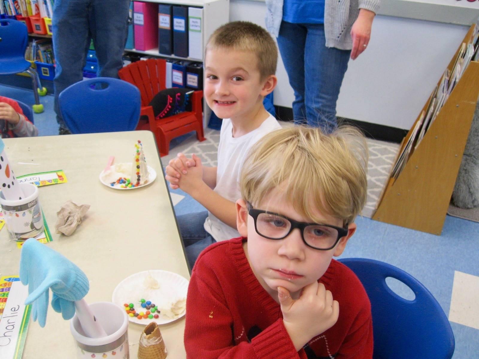 2 students frost  ice-cream  cone trees.