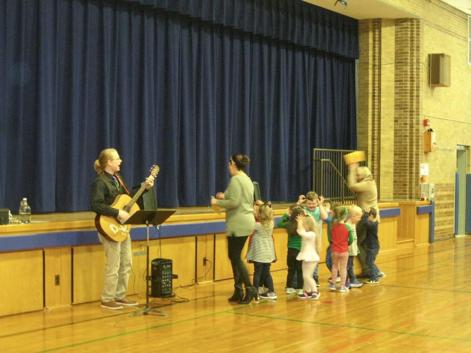A class sings.