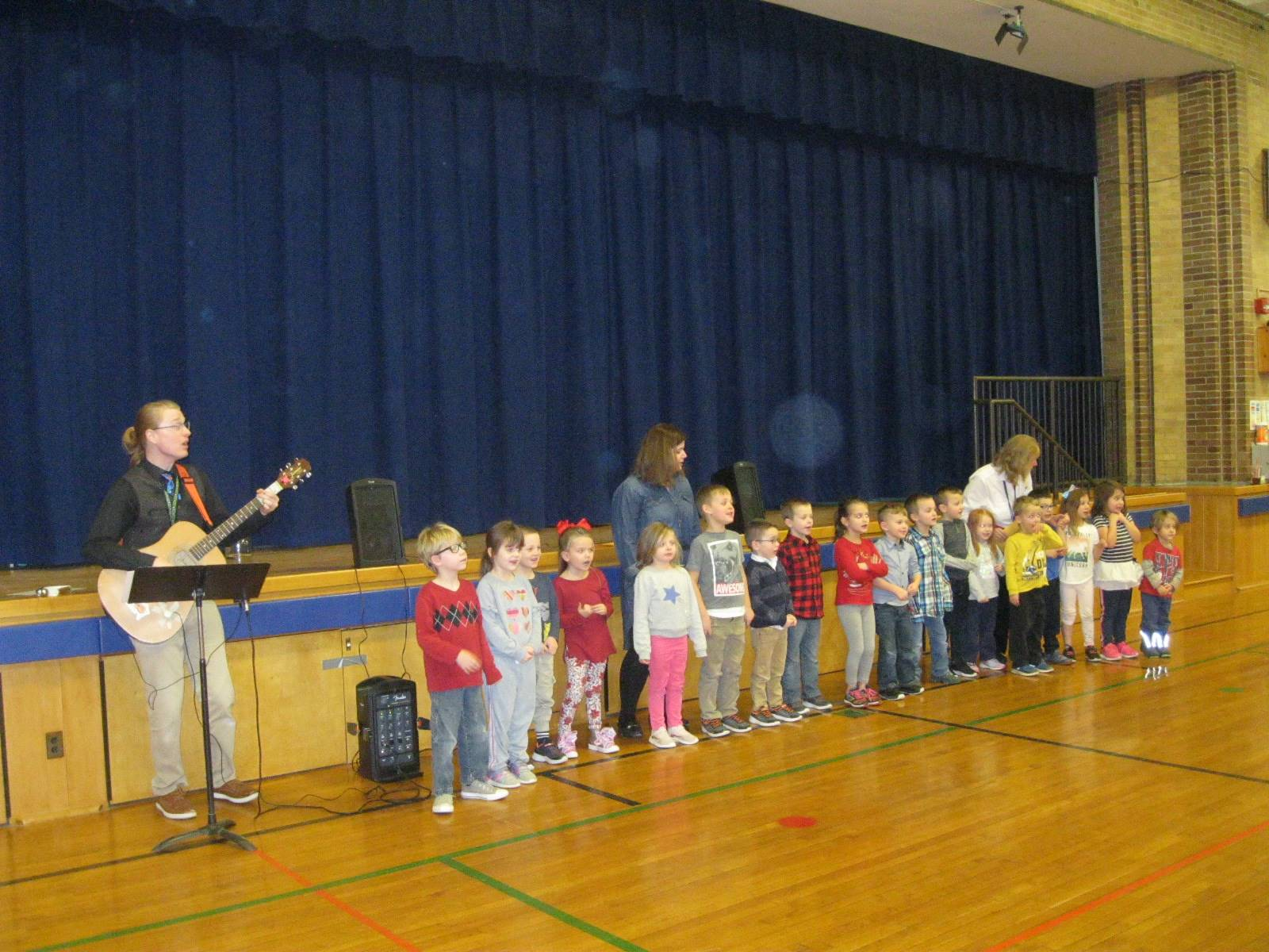 A class is singing.