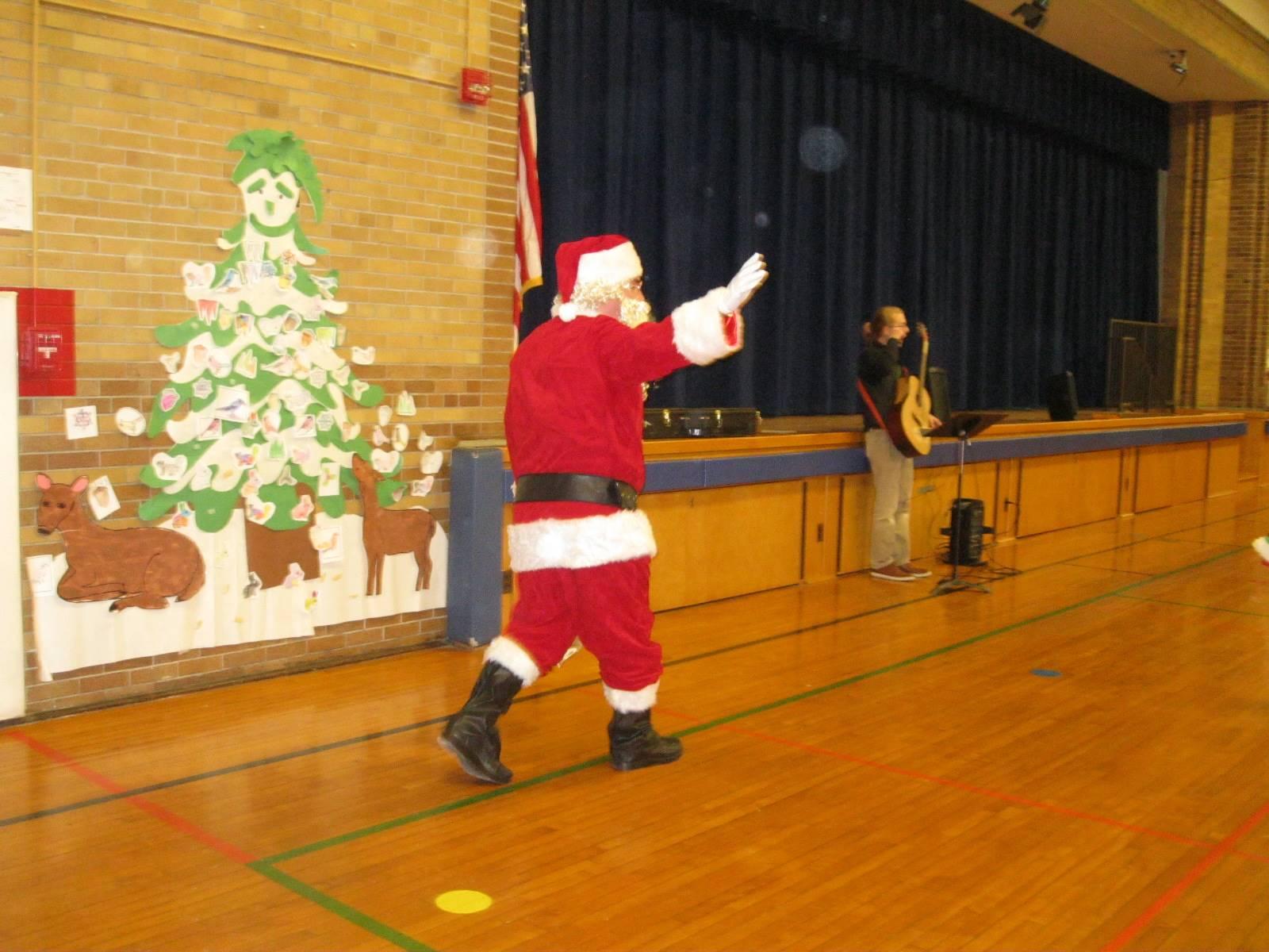 Santa arrives in gym!