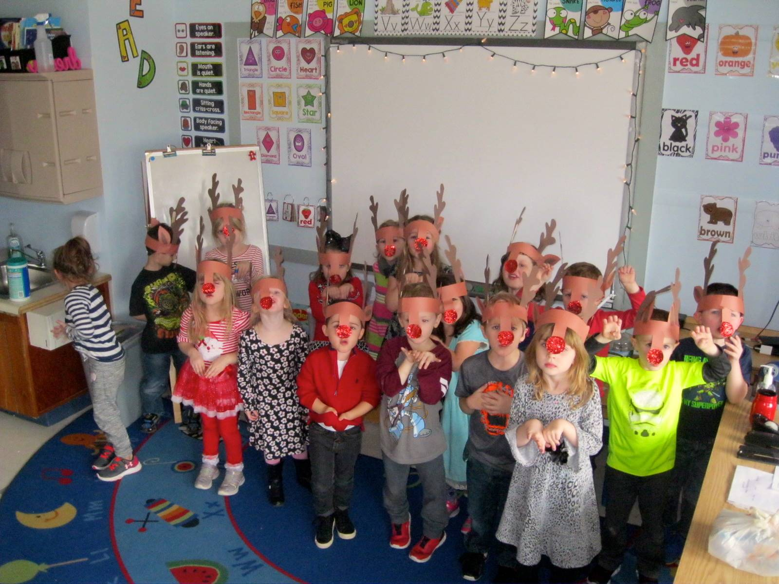 Students with reindeer noses!
