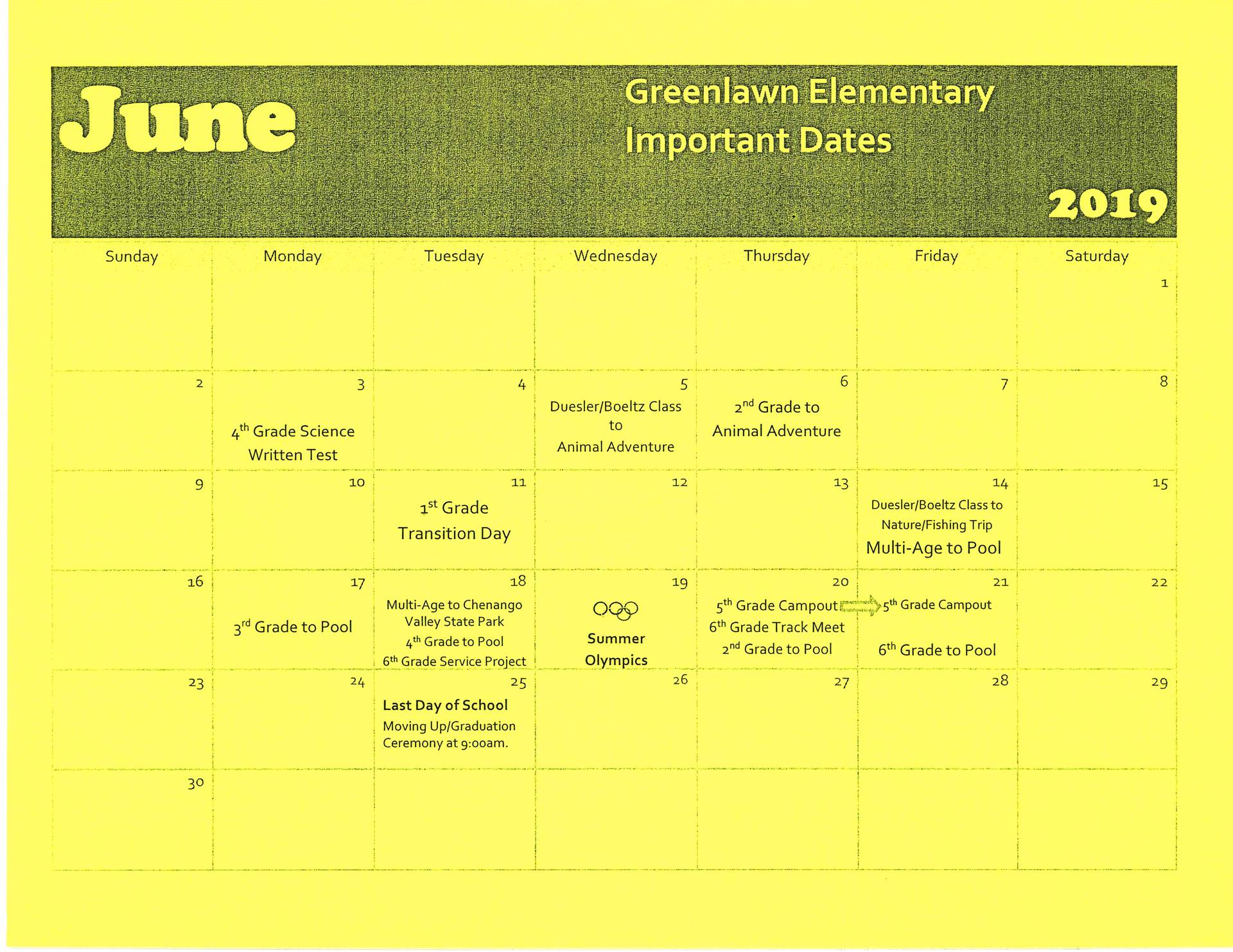 June Calendar of Events for Greenlawn