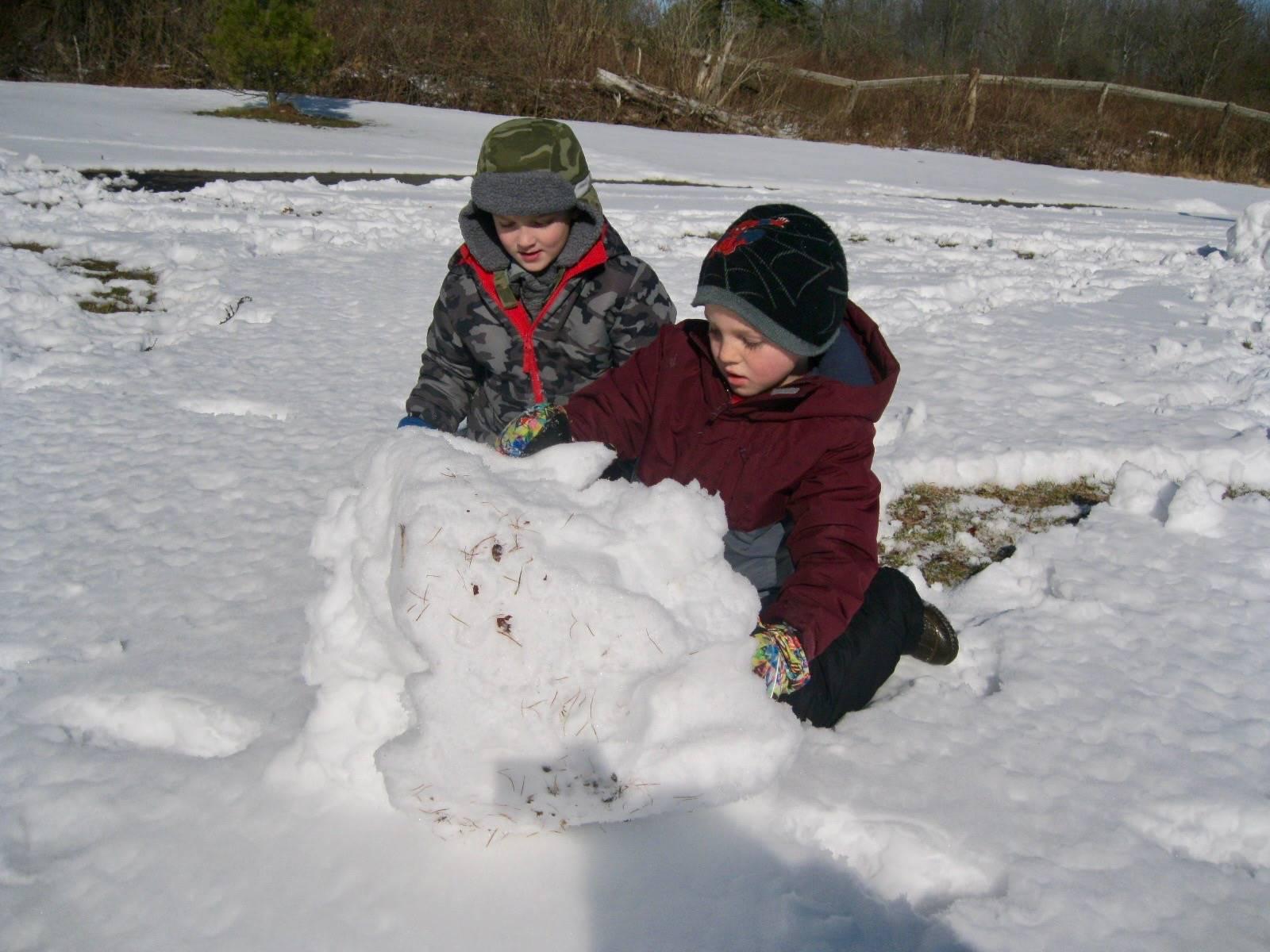 2 students pushing a snowball.